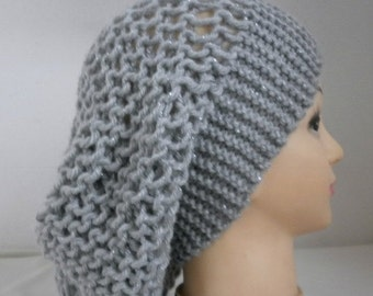 Silver Gray Knit Hat, Winter Hat, Slouchy Beanie, Knit Beanie, Womens Hats, Chunky Knit Hat, Girl Gifts, Teen Gift Gift Ideas For Her