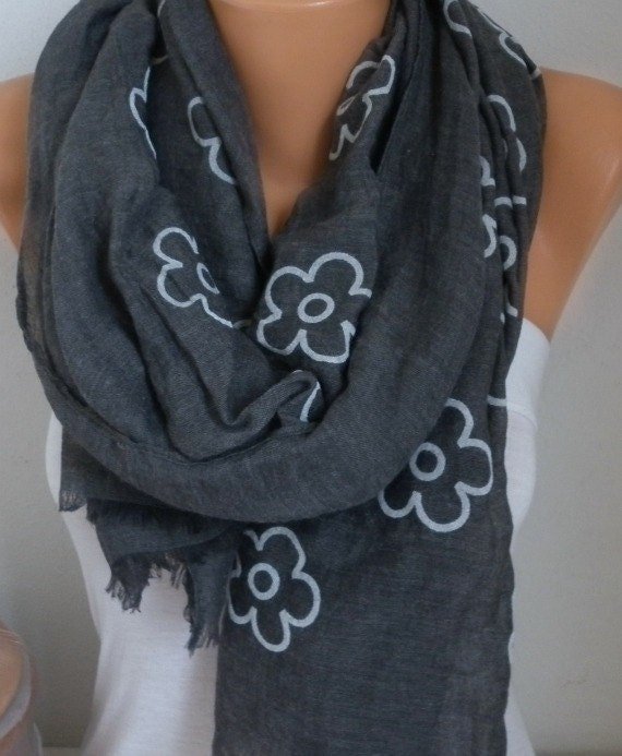 Foggy Gray Cotton Scarf, Soft Fall Shawl, Oversized,Bridal Accessories Bridesmaid Gift Cowl Gift Ideas For Her Women Fashion Accessories