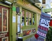 Christmas Stocking with Music Notes Knit Grey Xmas Holiday Stocking Fair Isle (Ready to Ship) LGR