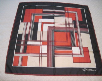 Vintage Hercolani Geometric Square Scarf Polyester Hand Rolled Rust Black Cream Colors Italy