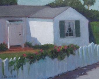 "Santa Barbara White House Fence Original Oil Painting Urban Landscape Modern Impressionist California Painting 8x10"" Jennifer Boswell"
