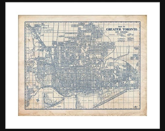 Toronto Canada Map 1944 Street Map Vintage Blueprint  Grunge Print Poster