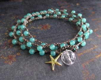 Beachy crochet wrap bracelet necklace - Maui Dreamin' - gold vermeil starfish seafoam green beach boho by slashKnots slash knots