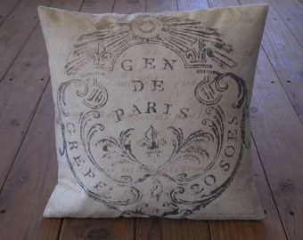 French Seal Pillow, Canvas and burlap,  Rustic French Farmhouse, INSERT INCLUDED