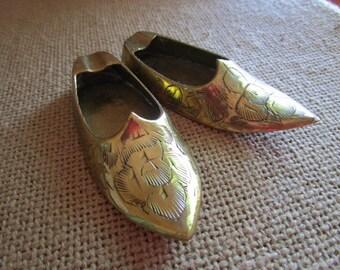 Engraved Brass Indian Slipper Ashtrays    Marked India