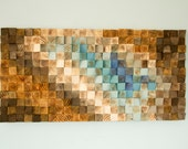 "Modern Wood wall Art, wood mosaic, geometric art 20""x 40"", wood wall art - ""Fighting River"""