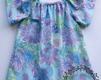 Pastel Flowers Peasant Tunic Top - Hand Made for Girls