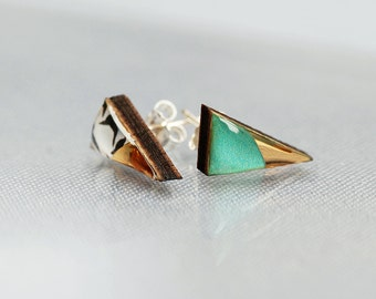 Triangle wood and resin turquoise green and gold stud earrings.