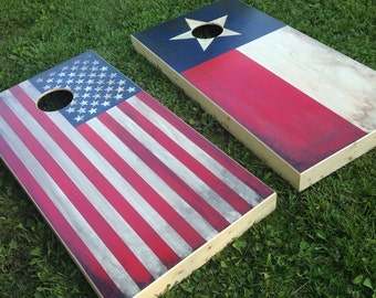 Distressed American Flag Cornhole Board Set with Bags - Handpainted Patriotic Backyard Game - Made in the USA