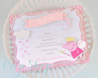 Peppa Pig Shabby Chic Birthday Invitations