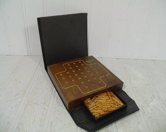 Vintage E. S. Lowe Volume 513 Peg Solitaire Game in Book Travel Case with Wooden Board & Pegs Set - Miniature Game Equipment for Repurposing