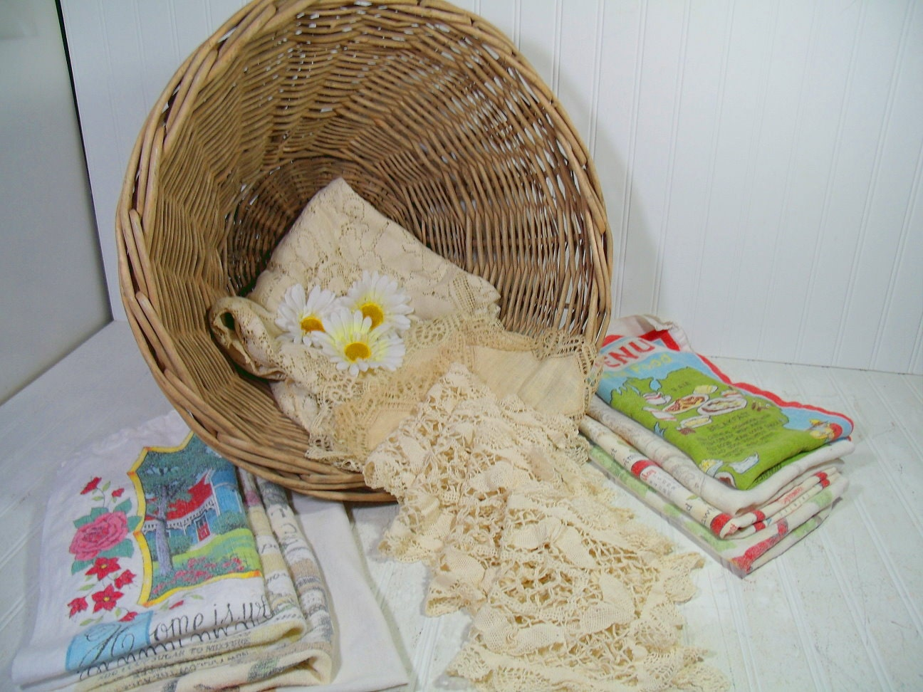 Wicker Laundry Basket With Vintage Old Lace Faded Linens