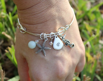 Rustic Silver Starfish and Seahorse Bangle Bracelet with Personalized Initial