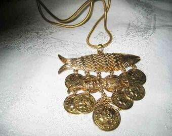 Vintage Coro Fish & Coin Necklace