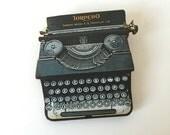 Black Torpedo Typewriter Brooch Vintage Bookworm Writer Author Birthday Wooden Pin Gift for Stocking Filler Stuffer University Jewellery