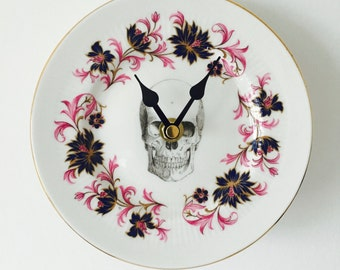 Black Skull Plate Clock Pink and Navy Blue White China for Kitchen Wall House Warming Gift Unique Vintage Homeware Present Made in England