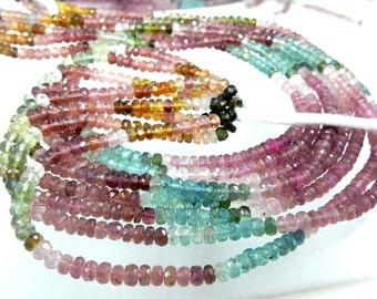 Tourmaline Beads Tourmaline Rondelle Faceted Beads Mutli Color  AAA+++ Quality 4MM 14''  100% Natural Gemstone Wholesale Price