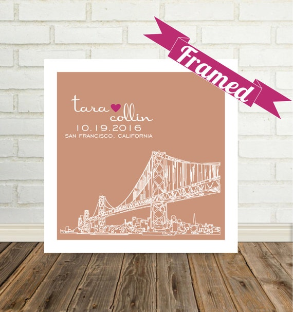 Bride Gift Wedding Gift for Bride to Be City Skyline Personalized Print FRAMED ART Any City Worldwide Bridal Shower Gift Valentines Day Gift