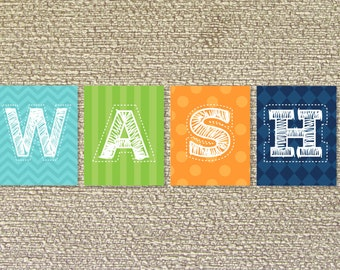 Wash, Bathroom Wall Art, Bathroom Decor- File Download