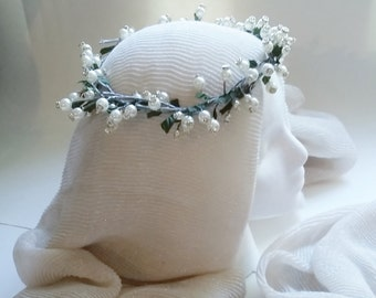 """EVIE"""" Faberge style  Lily of the Valley Pearl Silver Hair Wrap,  Wreath, Head Band, Pearl Wedding Flower Hair Vine, Boho Wedding Headpiece"""
