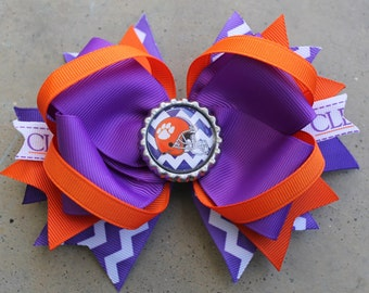 CLEMSON HAIRBOW Boutique Style Clemson Tigers Chevron Hair Bow
