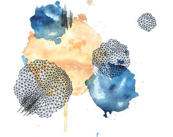 THAT FEELING abstract geometric watercolor art print in tangerine orange and indigo blue