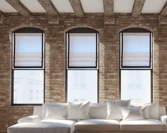 White & Navy Contemporary  Faux Roman Shade Grosgrain Ribbon Trimmed  Fake Roman Shades/  Custom Sizing Available!