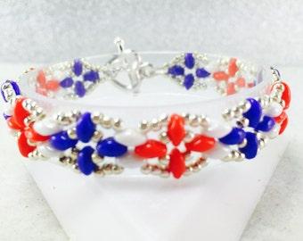 4th of July Bracelet, Red White and Blue Bracelet, Fourth of July Bracelet, 4th of July Beaded Bracelet, Patriotic Bracelet