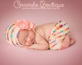 Speckled Newborn Knit Bonnet and Short Set-Baby Girl Speckled Bonnet and Short Set-Knit Newborn Photo Props-Baby Girl Photo Props