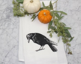 Tea Towel - Crow - Cotton Flour Sack Towel - Raven - Dishcloth - Eco-Friendly Dish Towel - Halloween Decor - Kitchen Towel