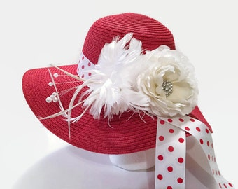 Red Wide Brim Dressy Hat, Red Hat With White Embellishments, Dressy Hat, Special Occasion, Church Hat