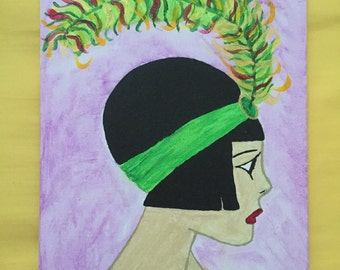 Acrylic Flapper Girl Painting