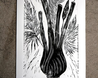 Fennel Black and White Linocut Print