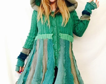 Elf coat Wood Nymph Green upcycled  Hooded sweater coat extra large