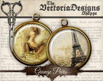 Grunge Paris Circles printable - 2 inch 1.5 inch 1 inch 20mm 18mm 16mm 14mm 0.5 inch instant digital download collage sheet- 1228VEDECIGR