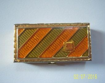 Enamel Pill Box -  Metal Gold Tone Pill Box -  Ring Box - Purse Pill Box - Small Collectible  -  Trinket Box - Gift Box - Ring Bearer Box