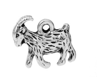 10 Silver GOAT Charm Pendants, billy goat charms, 13x13mm, chs2334