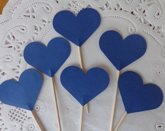 24 Navy Blue Heart Cupcake Toppers - Medium Size Heart Party Picks - Food Picks - Wedding Decorations