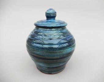 Blue Green Pottery Jar - Lidded  Pottery Jar