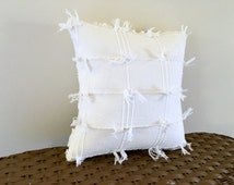 WISPY WHITE chenille pillow cover, nautical cushion, neutral pillow sham, cottage chic cushion, shabby style porch pillow cover
