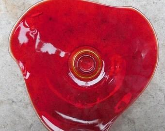 COOL Mid-Century Amberina Art Glass Candle Holder
