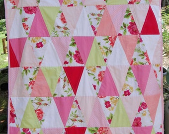Vintage Style Pink & Coral Floral Triangle Baby Girl Quilt ~ Vintage Baby Blanket