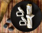 Vintage White Porcelain Owl Napkin Rings Set of 8