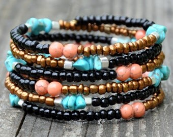 Boho Western Beaded Wrap Bracelet