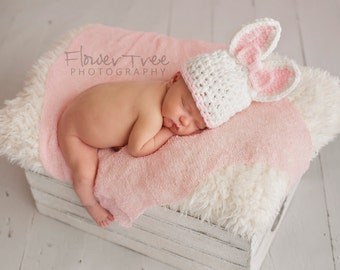 Newborn Bunny Hat, Baby Bunny Hat, Newborn Photo Prop, Infant Easter Hat, Baby Hat With Bow, Crochet Bunny Hat, Newborn Girl Hat, Rabbit Hat