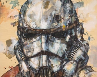 "Stormtrooper 12"" x 12"" Digital Art Print Of Original Ink and Acrylic Painting"