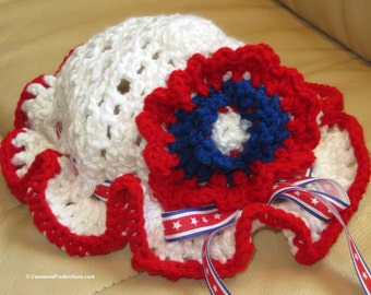Baby Toddler Patriotic Bonnet Hat - 9 Months to 4 Years - Red White Blue - Adjustable Ribbon Bow - Hand Crocheted - Soft Hat - Item 4530