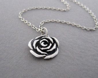 Rose Necklace, Silver Rose Necklace, Rose Charm Necklace, Rose Pendant Necklace