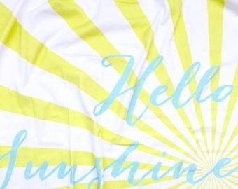 Hello Sunshine Organic Cotton Swaddle Blanket, Aqua Newborn Baby Blanket and Hat, Nursing Cover, Yellow Stroller Blanket, Baby Shower Gift