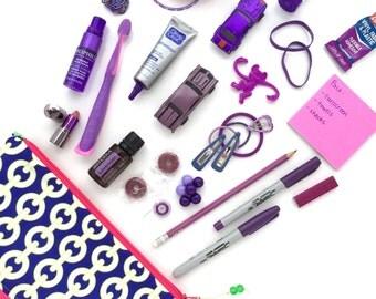 Purple Makeup Bag, Recycled Canvas Zipper Pouch, Geometric Diaper Bag Organizer, Chain Cosmetics Bag + Glass Bead Tassel, Gift for Women
